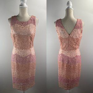 Tahari Pink Blush Color Block Lace Dress Size 6